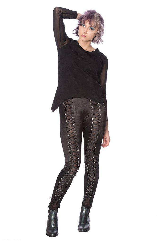 Lace Up Lycra Leggings-Banned-Dark Fashion Clothing
