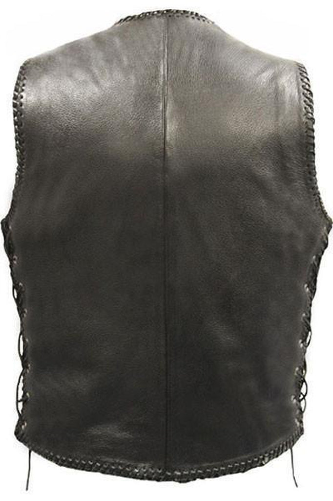 Laced Hand Plaited Biker Vest - Brace-Skintan Leather-Dark Fashion Clothing