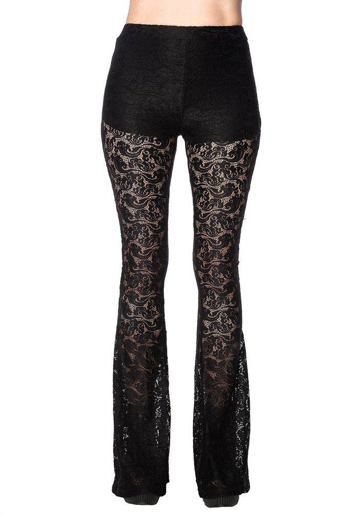 Lacey Flared Trousers-Banned-Dark Fashion Clothing