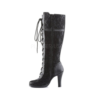 Ladies Gothic Boot - Glam 240 Black PU-Demonia-Dark Fashion Clothing