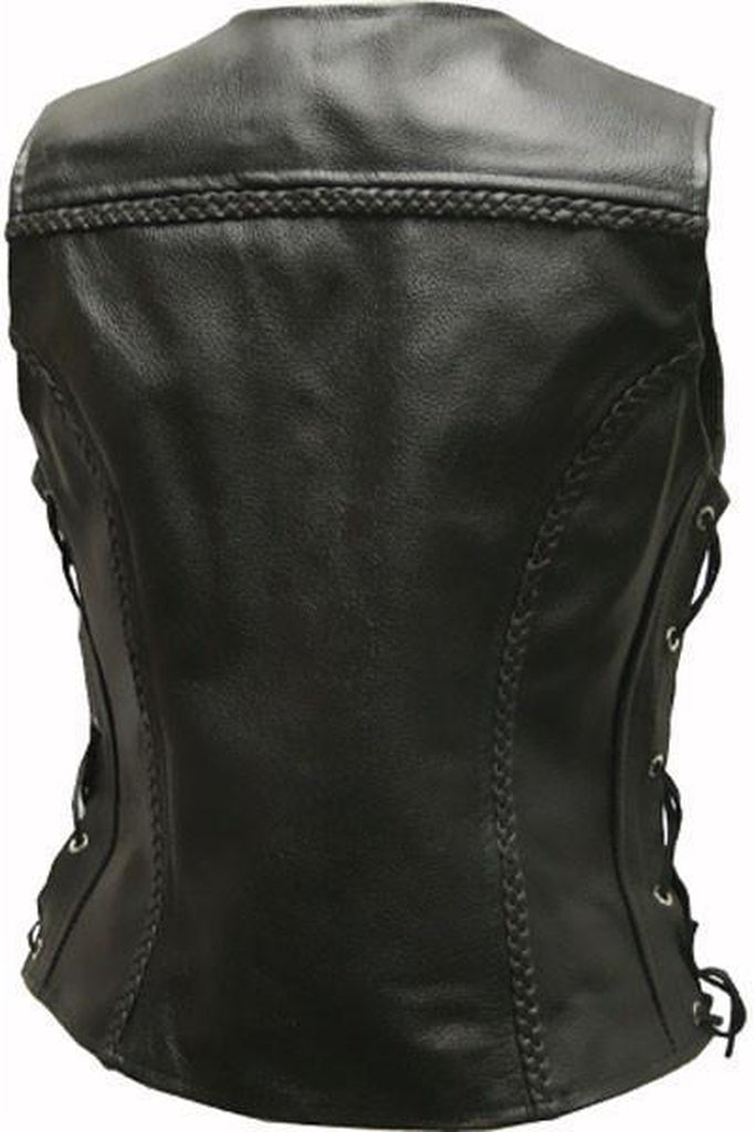 Ladies Leather Biker Vest - Jessie-Skintan Leather-Dark Fashion Clothing