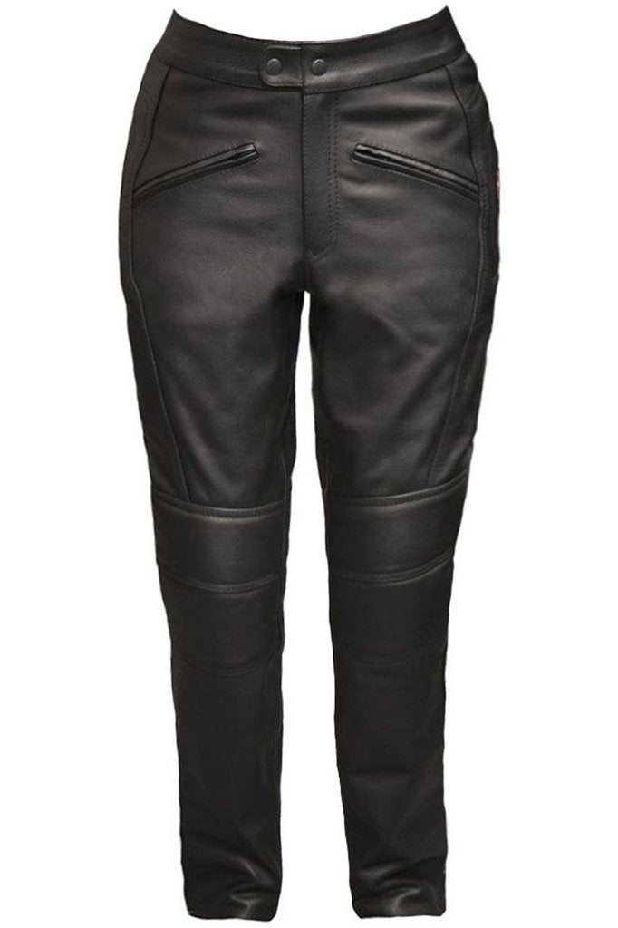 Ladies Monza Biker Trousers - CE Armoured-Skintan Leather-Dark Fashion Clothing