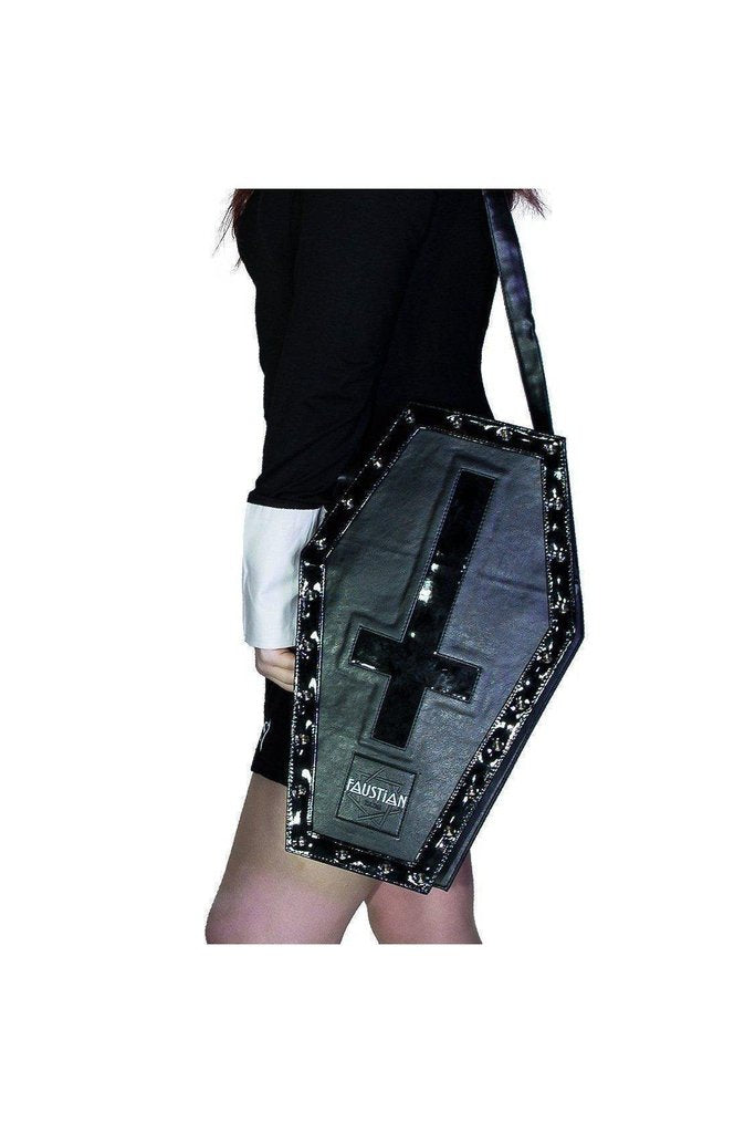 Large Black Patent Inverted Cross Vegan Leather Coffin Bag - Petra-Dr Faust-Dark Fashion Clothing