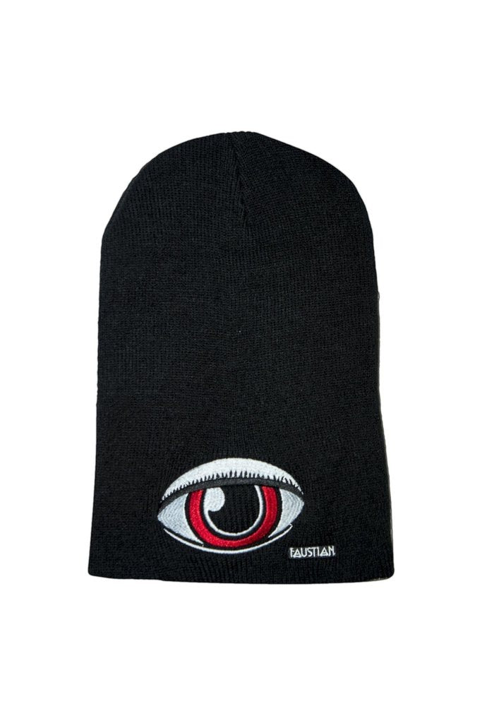 Large Red Eye Faustian Black Beanie - Zane-Dr Faust-Dark Fashion Clothing
