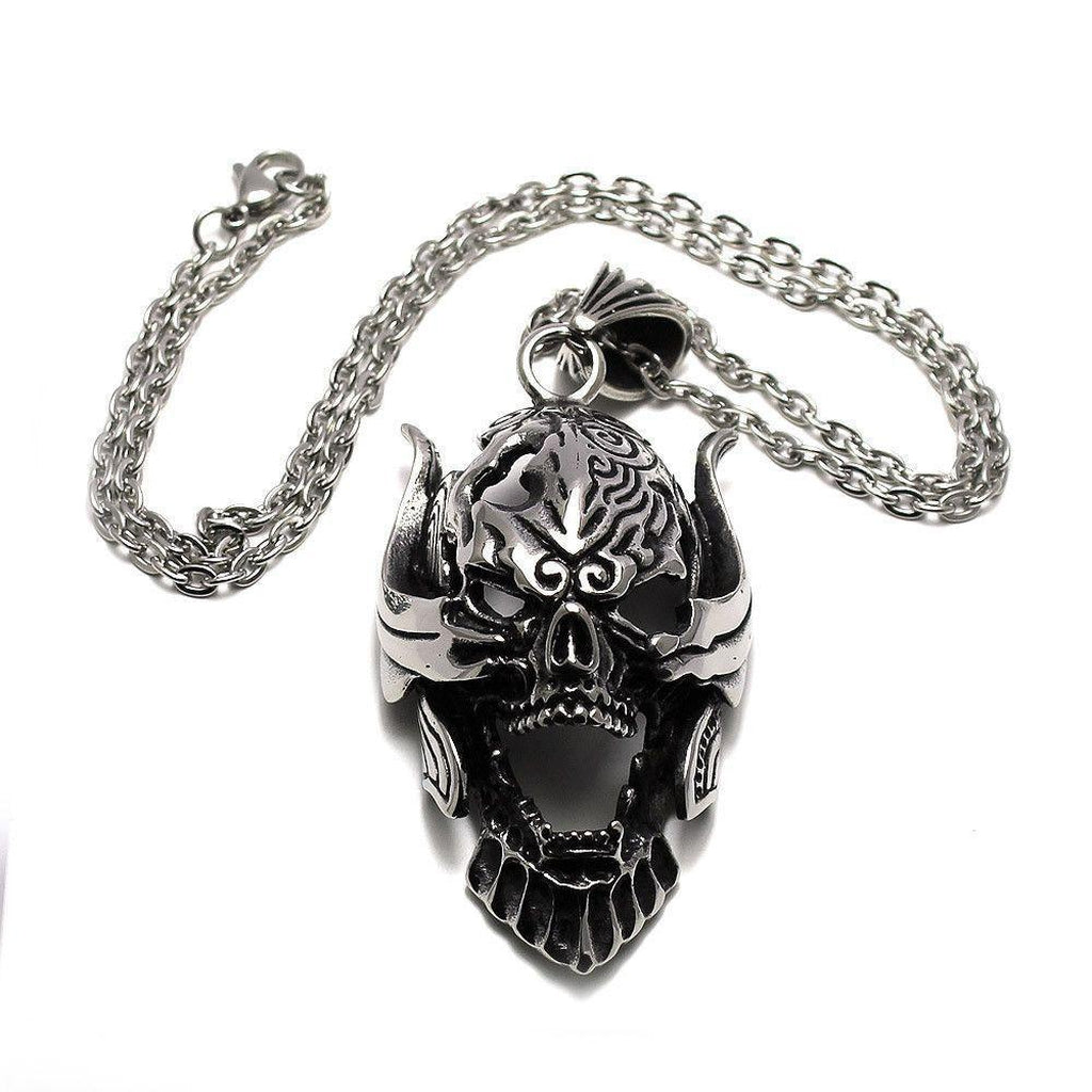 Large Steel Skull Pendant-Badboy-Dark Fashion Clothing