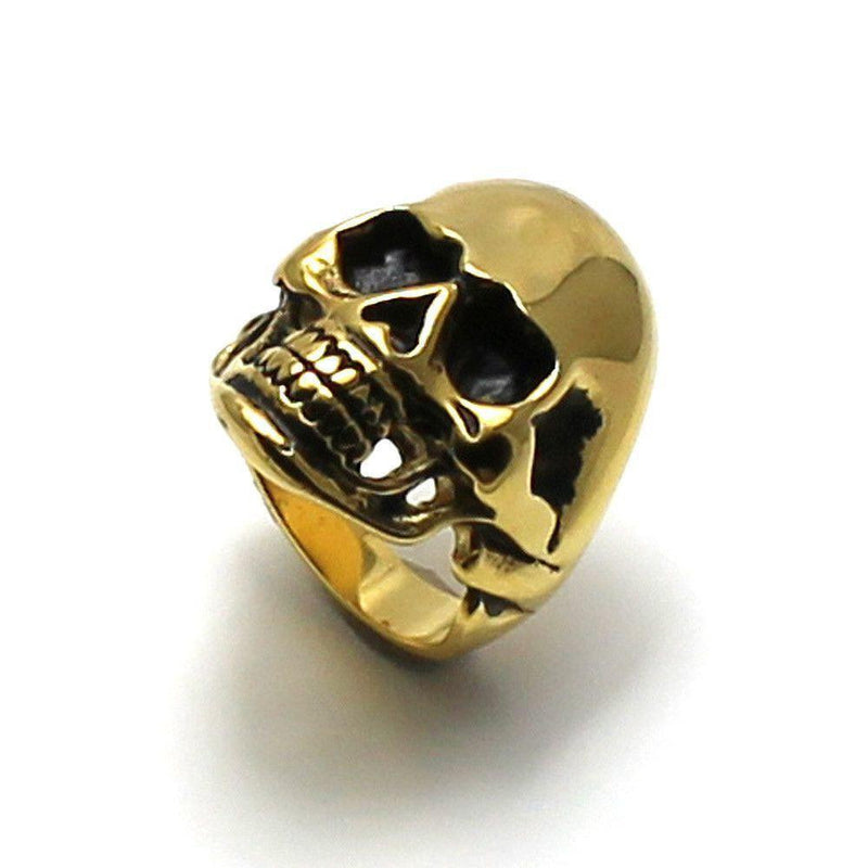 Large Steel Skull Ring With Gold Ion Plating-Badboy-Dark Fashion Clothing