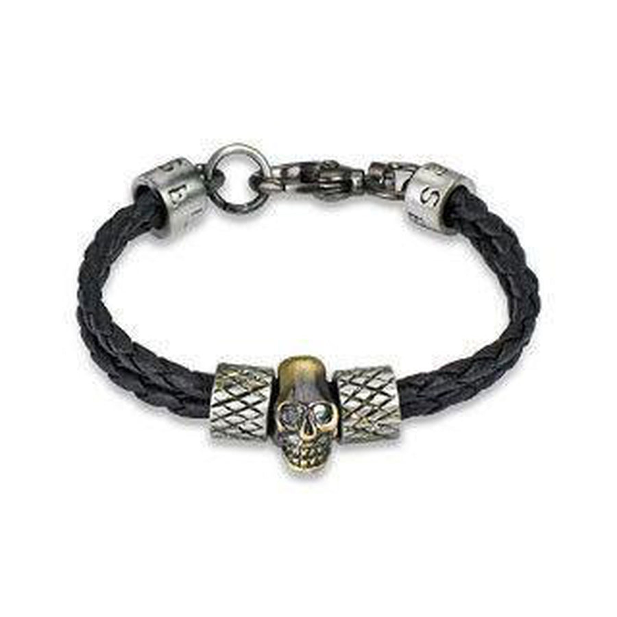 Leather and Steel Bracelet With Gold Coloured Skull