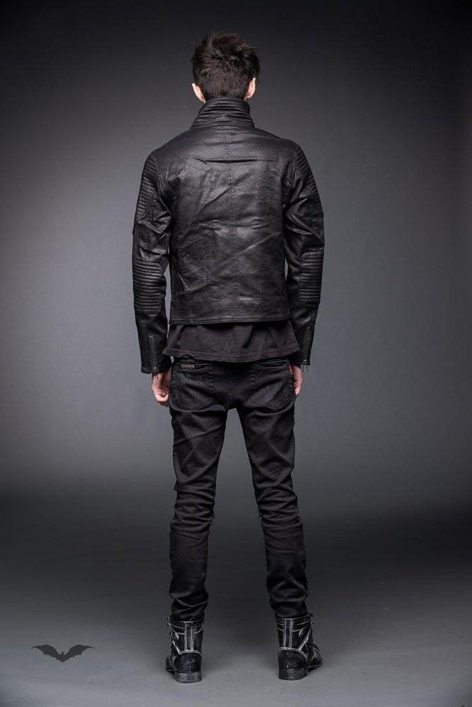 Leather Look Jacket With Two Front Zippers