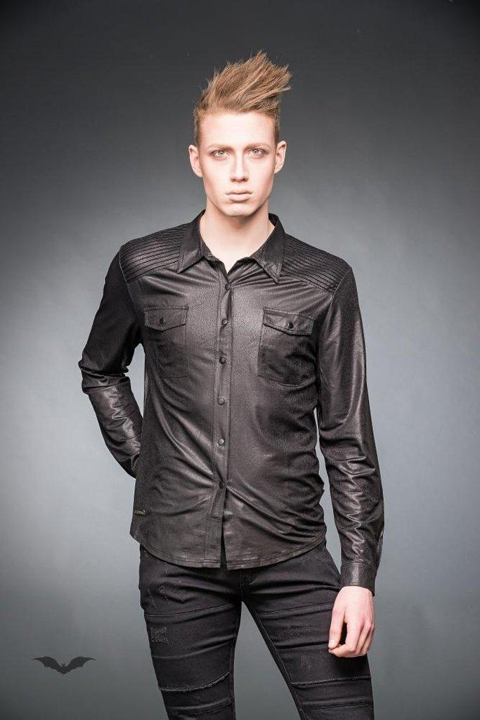 Leather-Look Shirt With Chest Pockets-Queen of Darkness-Dark Fashion Clothing