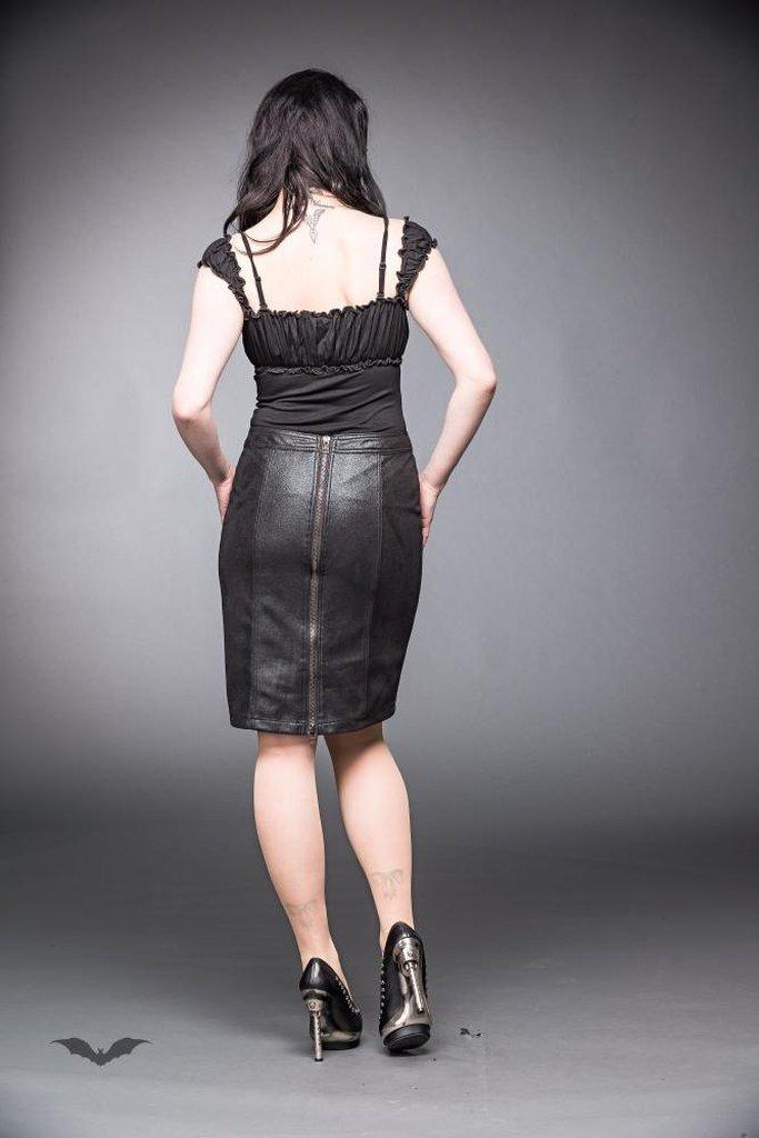 Leather-Look Skirt With Zipper-Queen of Darkness-Dark Fashion Clothing