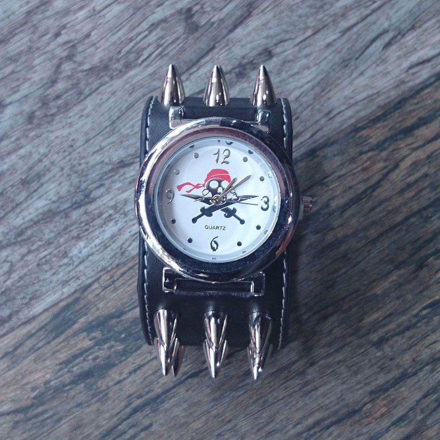 Leather Pirate Skull Watch With Spikes