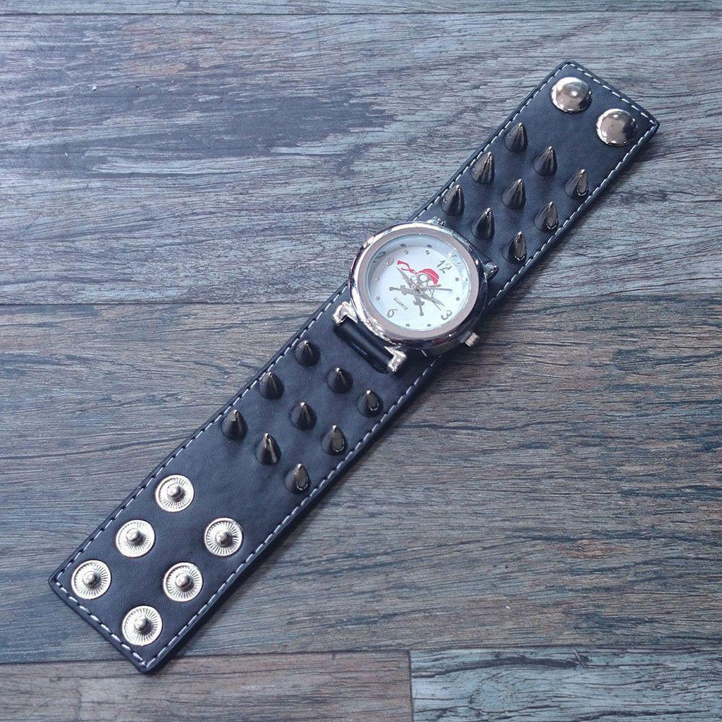 Leather Pirate Skull Watch With Spikes-Badboy-Dark Fashion Clothing