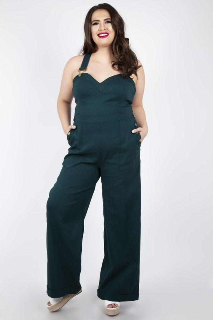 Lelani Green Wide Leg Overalls-Voodoo Vixen-Dark Fashion Clothing
