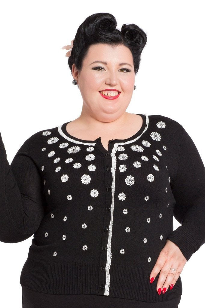 Leticia Rose Embroidery Plus Size Cardigan-Voodoo Vixen-Dark Fashion Clothing
