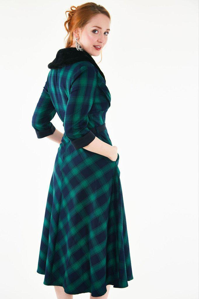 Lola Tartan Dress - Removable Fur Collar