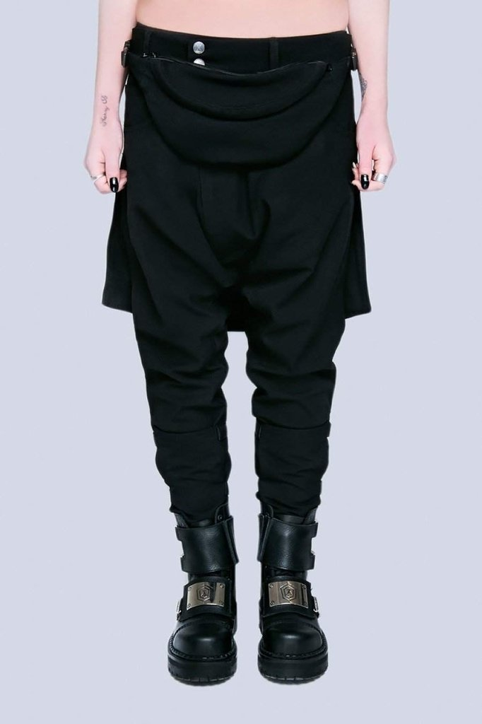 Long x Orphanage Black Clip Pants - Unisex-Long Clothing-Dark Fashion Clothing