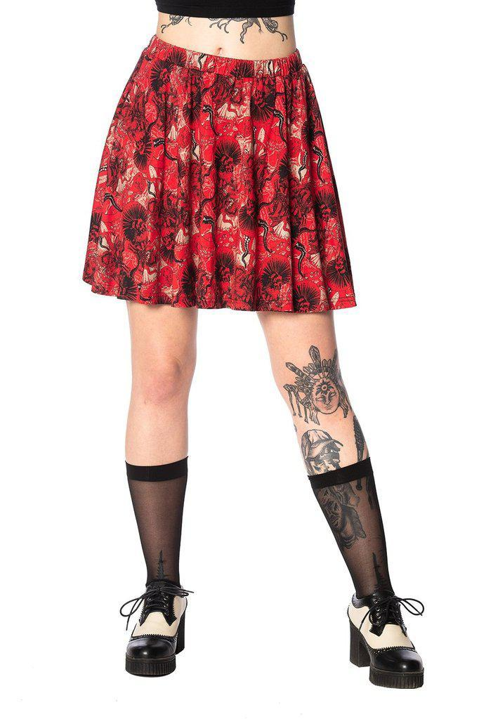Mad Dame Skater Skirt-Banned-Dark Fashion Clothing
