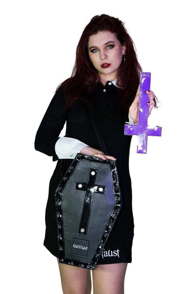 Magnetic Crosses Large Vegan Leather Coffin Bag - Katana-Dr Faust-Dark Fashion Clothing