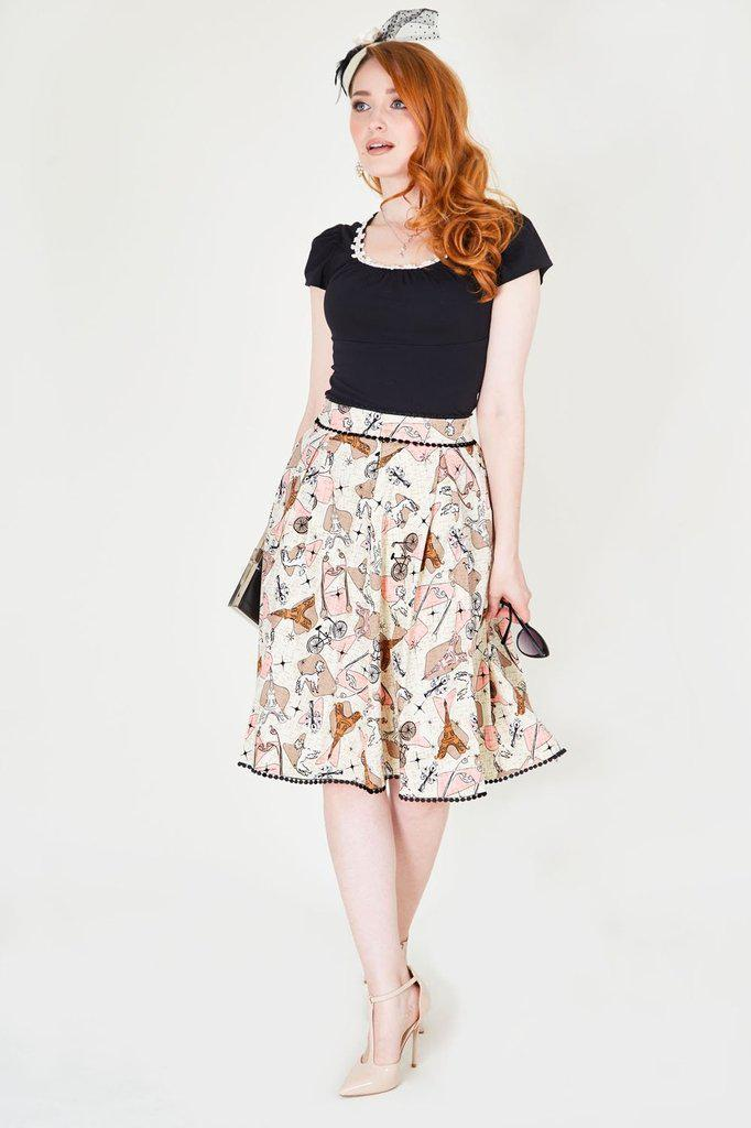 Marienne Parisian Print Skirt - Voodoo Vixen-Dark Fashion Clothing
