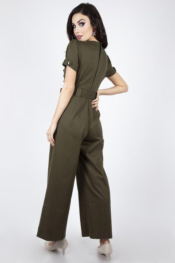 Martha Wide Leg 40s Jumpsuit-Voodoo Vixen-Dark Fashion Clothing