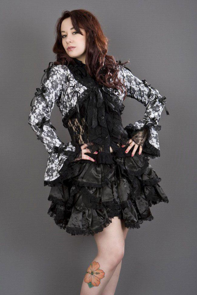Melissa Burlesque Bolero Jacket In Cotton & Black Lace Overlay-Burleska-Dark Fashion Clothing