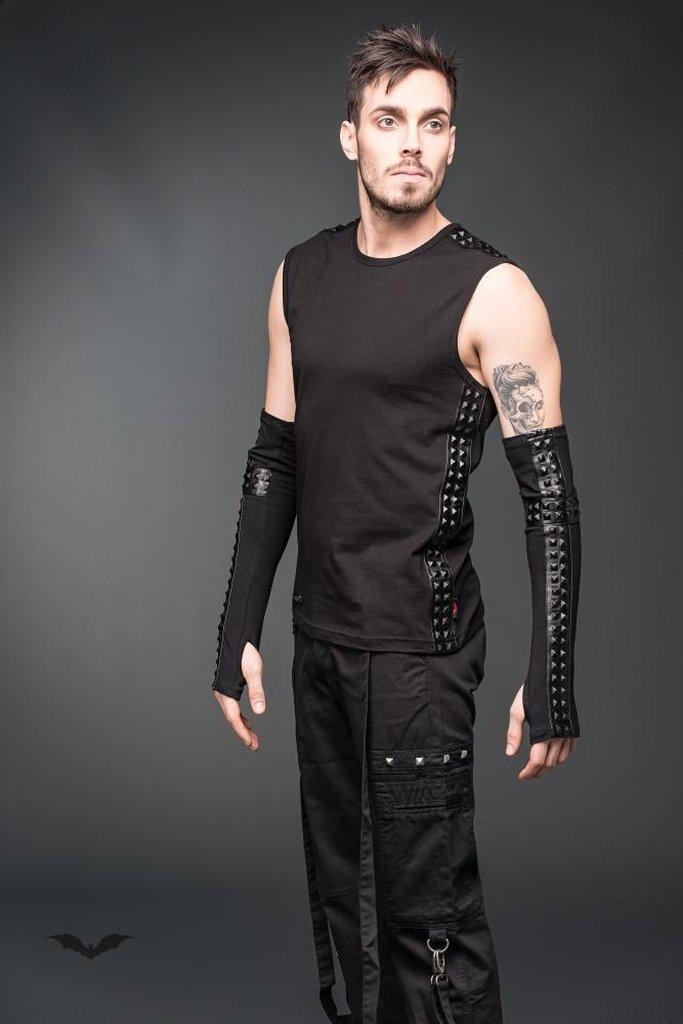 Men's Goth Vest With Faux-Leather Applications-Queen of Darkness-Dark Fashion Clothing
