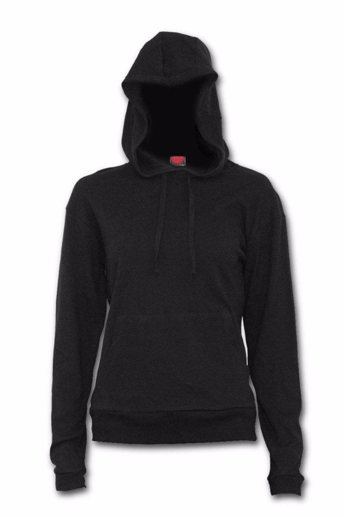 Metal Streetwear - Street Ribbed Large Hood Hoodie Black-Spiral-Dark Fashion Clothing