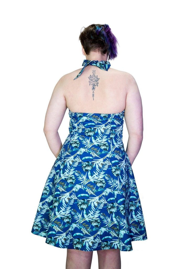 Metallic Blue Leaves Plus Size Rockabilly Midi Dress - Bessie-Dr Faust-Dark Fashion Clothing