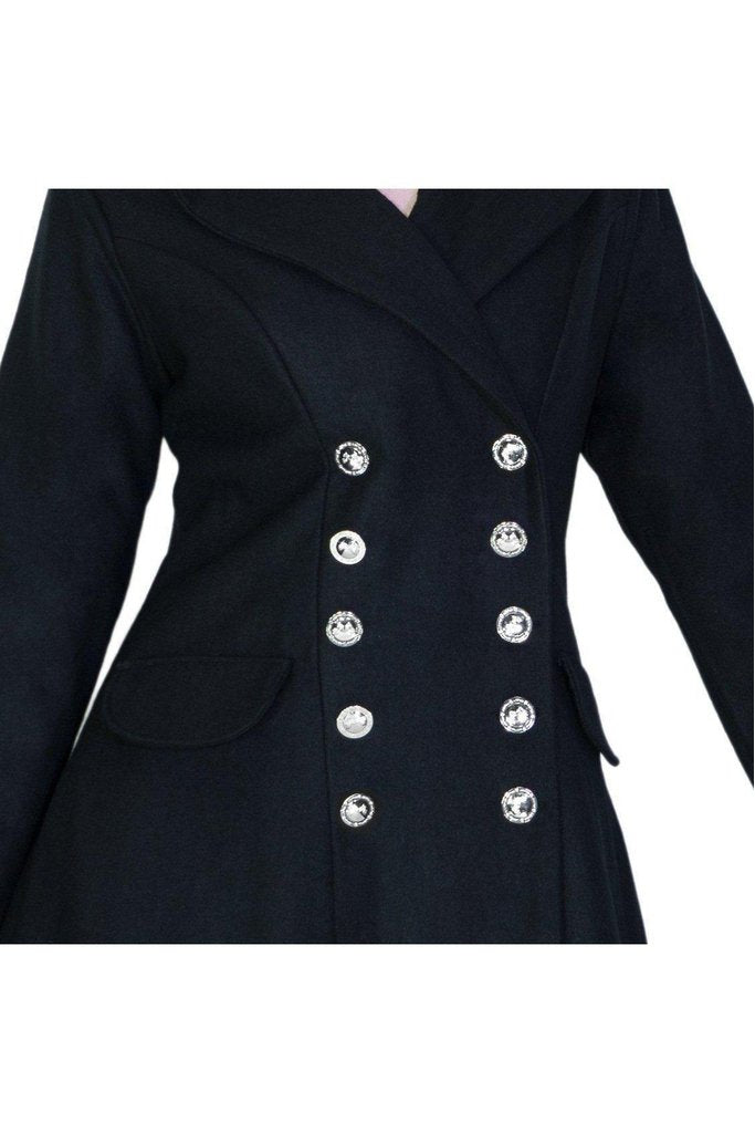 Military Silver Buttons Black Wool Coat - Krarmia-Dr Faust-Dark Fashion Clothing