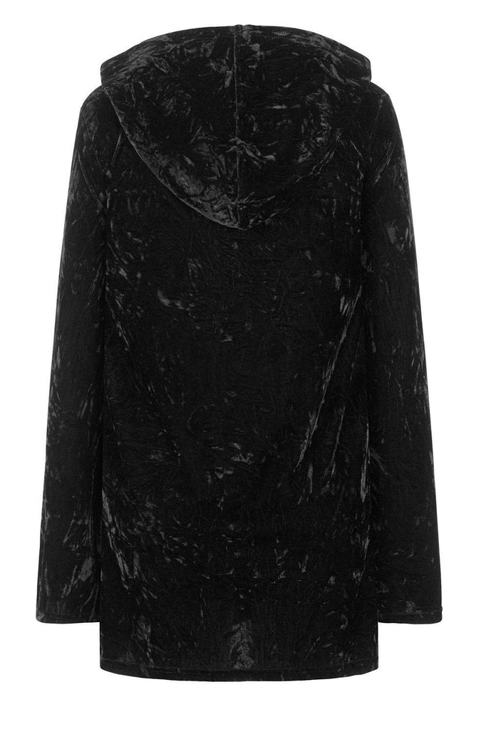Minimal Goth Velvet Hoodie Dress-Banned-Dark Fashion Clothing