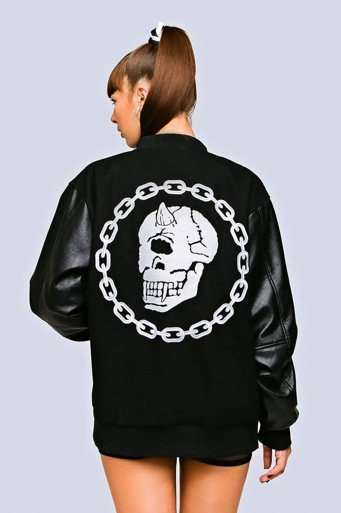 Mishka Chain Varsity Jacket - Unisex-Long Clothing-Dark Fashion Clothing