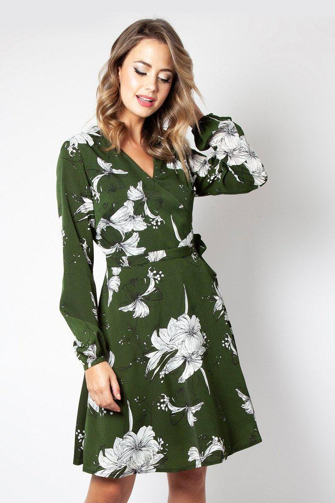 29489207ce90 Molly Floral Wrap Dress by Voodoo Vixen - Dark Fashion Clothing