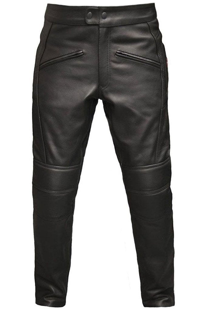 Monza Biker Trousers - CE Armoured-Skintan Leather-Dark Fashion Clothing
