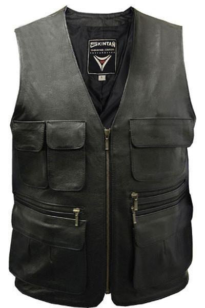 Multi-pocket Biker Vest - Trapper-Skintan Leather-Dark Fashion Clothing
