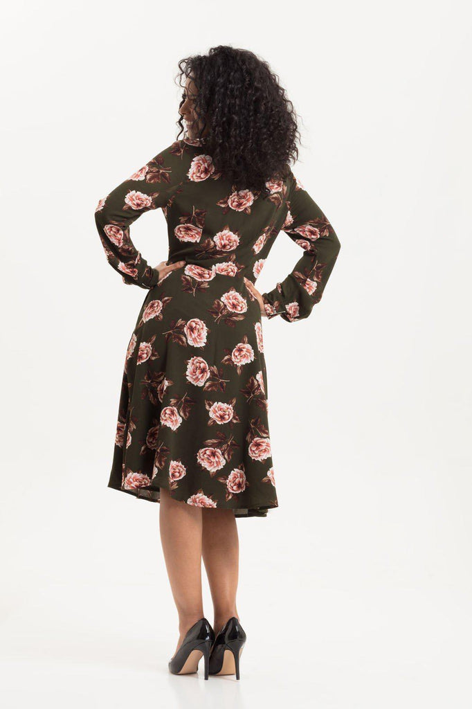 Nora Floral 40s Style Tea Dress-Voodoo Vixen-Dark Fashion Clothing
