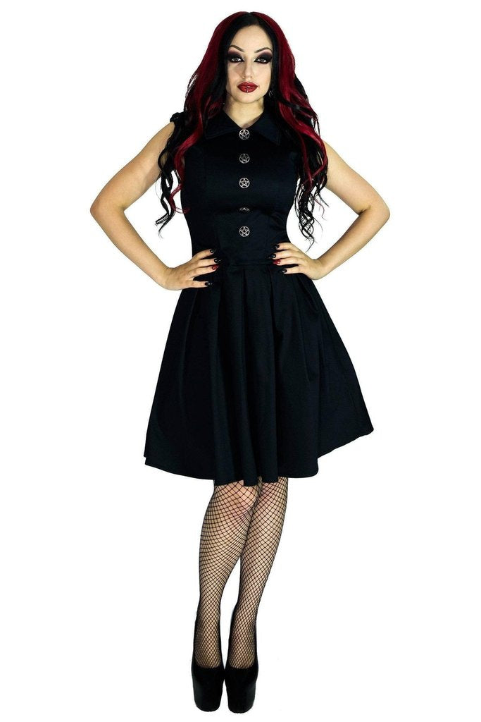 Occult Silver Pentagram Buttons Black Midi Dress - Hattie