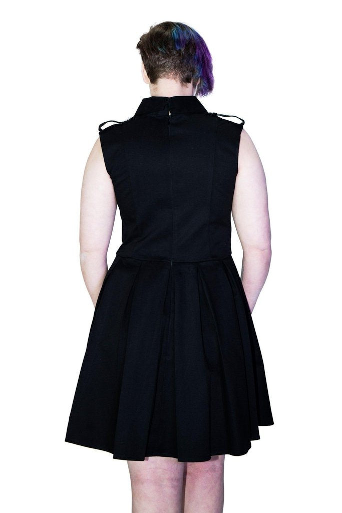 Occult Silver Pentagram Buttons Black Plus Size Midi Dress - Hattie-Dr Faust-Dark Fashion Clothing