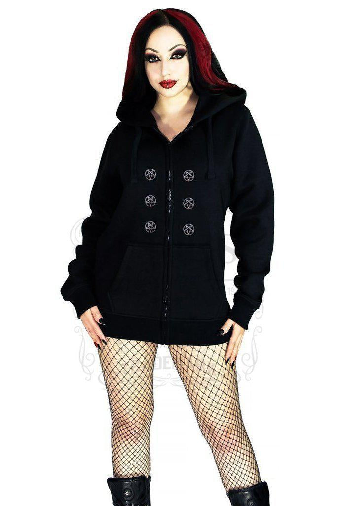 Occult Silver Pentagram Buttons Women's Black Hoodie - Georgia