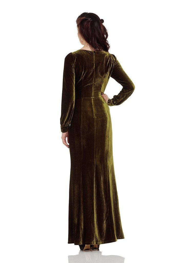 Olive 30's Dress-Voodoo Vixen-Dark Fashion Clothing