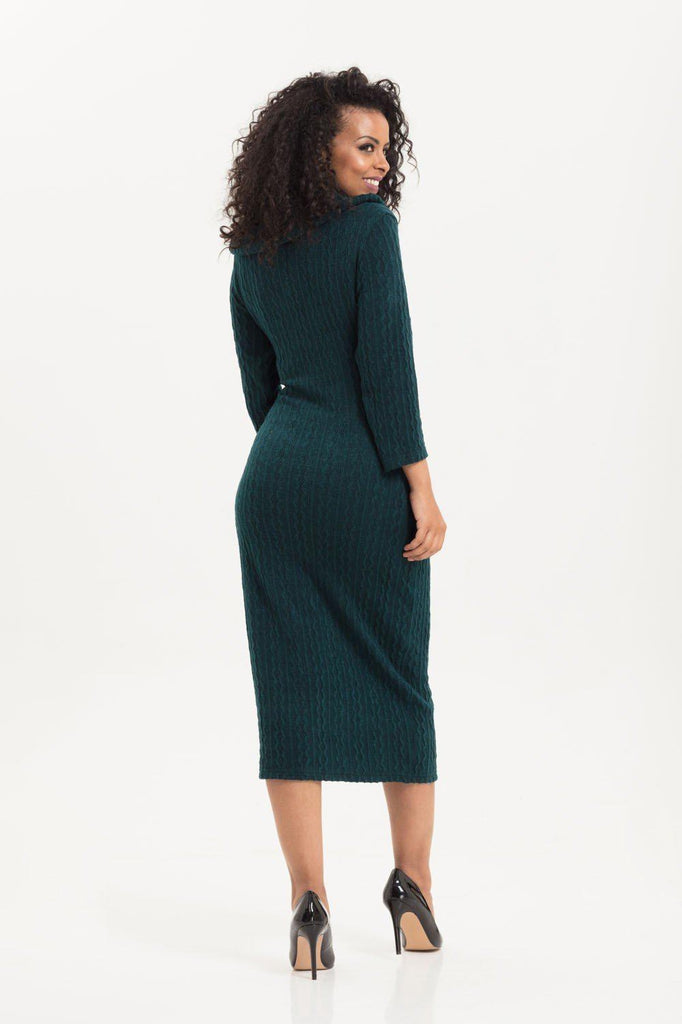 Olivia Green Knit Fitted Dress-Voodoo Vixen-Dark Fashion Clothing