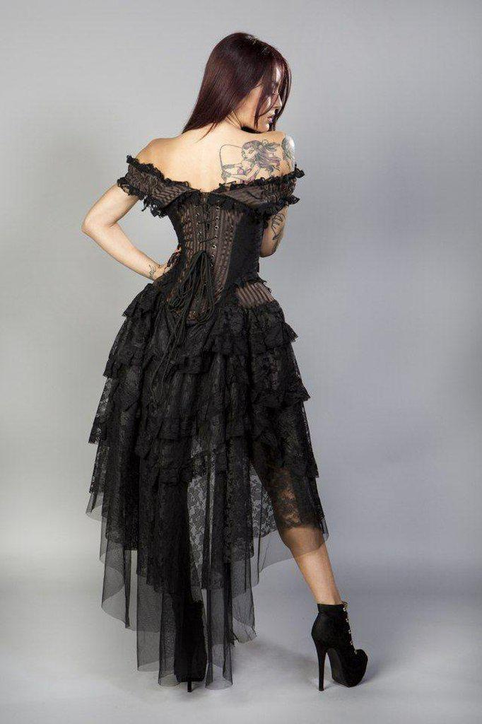 Ophelie Burlesque Corset Dress In Brown Stripe Brocade Black Lace-Burleska-Dark Fashion Clothing
