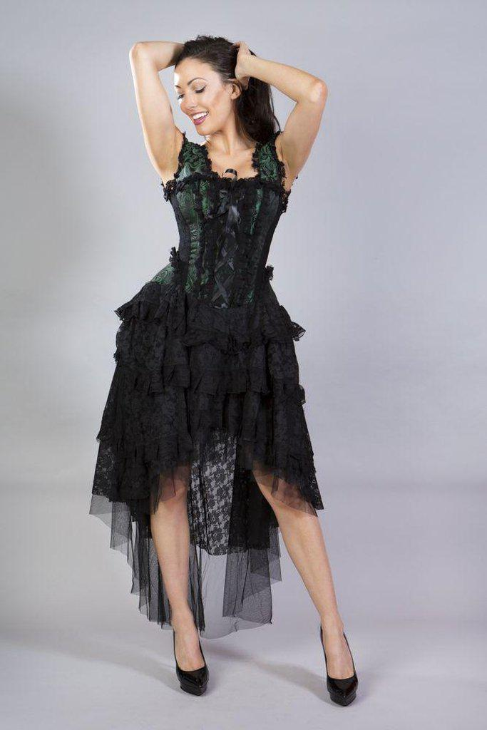 Ophelie Burlesque Corset Dress In Green Scroll Brocade-Burleska-Dark Fashion Clothing