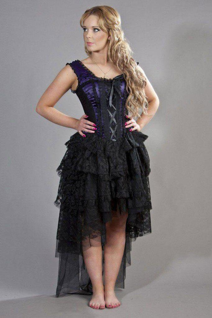 Ophelie Gothic Corset Dress In Satin Flock-Burleska-Dark Fashion Clothing