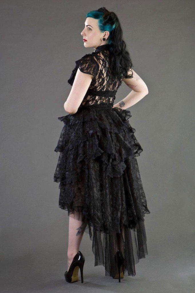 Ophelie Long Gothic Skirt In Black Lace-Burleska-Dark Fashion Clothing