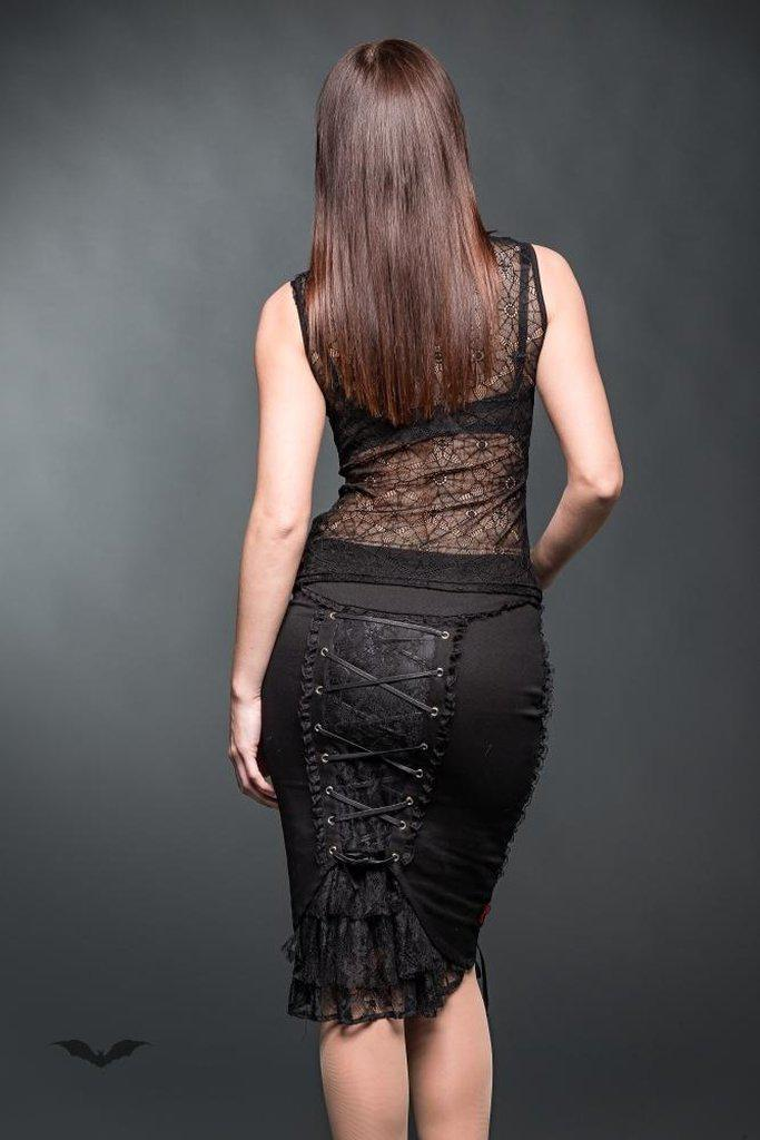 Pencilskirt With Lace And Decorative Rib-Queen of Darkness-Dark Fashion Clothing
