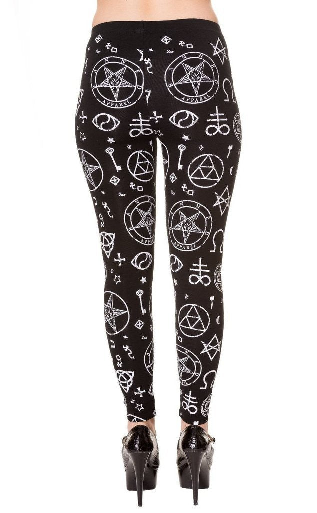 Pentagram Black Leggings-Banned-Dark Fashion Clothing