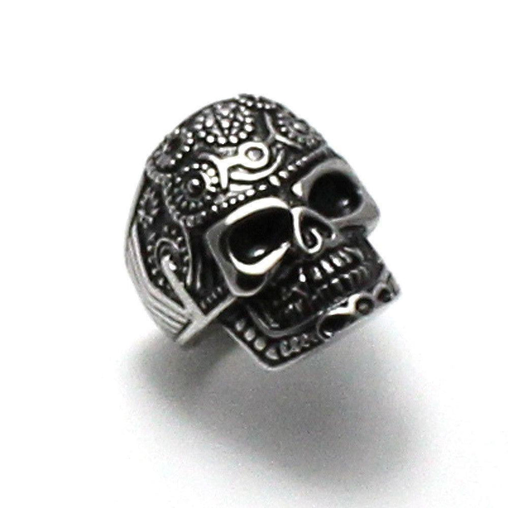 Pentagram Sugar Skull Ring – Steel-Badboy-Dark Fashion Clothing