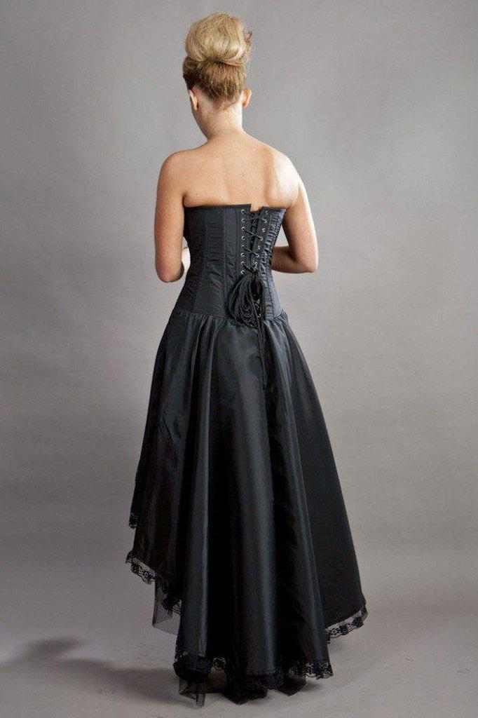 Phoenix Maxi Prom Dress In Black Taffeta-Burleska-Dark Fashion Clothing