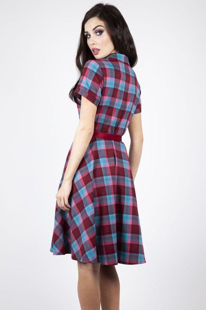 Piper Plaid Belted Flare Dress-Voodoo Vixen-Dark Fashion Clothing