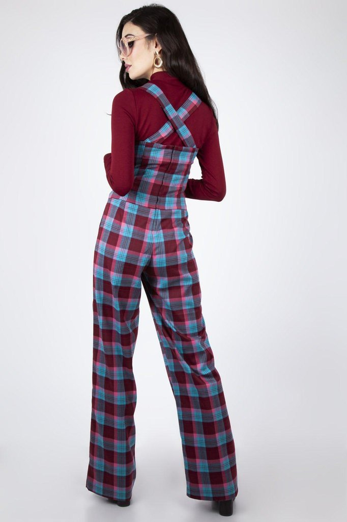 Piper Plaid Buckle 70s Jumpsuit-Voodoo Vixen-Dark Fashion Clothing